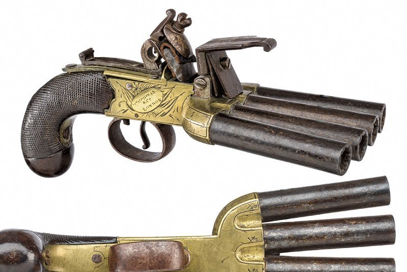 An extremely rare duck's foot flintlock pistol by