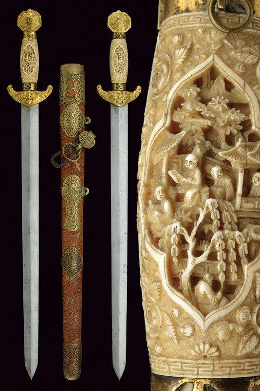 A fine double sword (Jian)