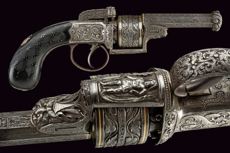 A superb engraved transition percussion revolver by