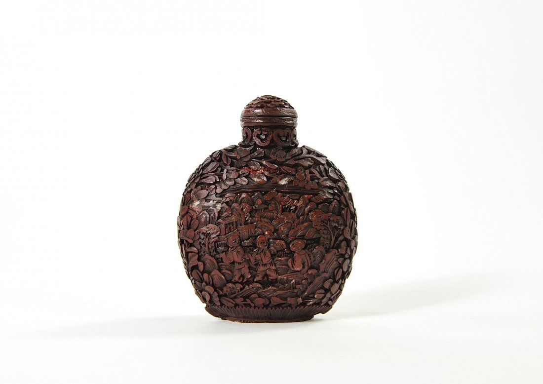 chinese deeply carved cinabar great attention to detail lot  chinese deeply carved cinabar great attention to detail