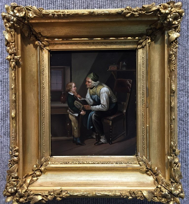 Painting on tin in gilt wood frame, c.1880