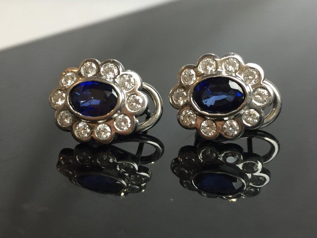 14k diamond and sapphire earrings, 2.4 dwts