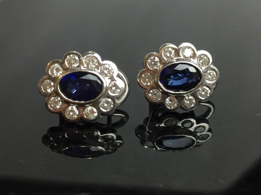 14k diamond and sapphire earrings, 2.4 dwts - 4