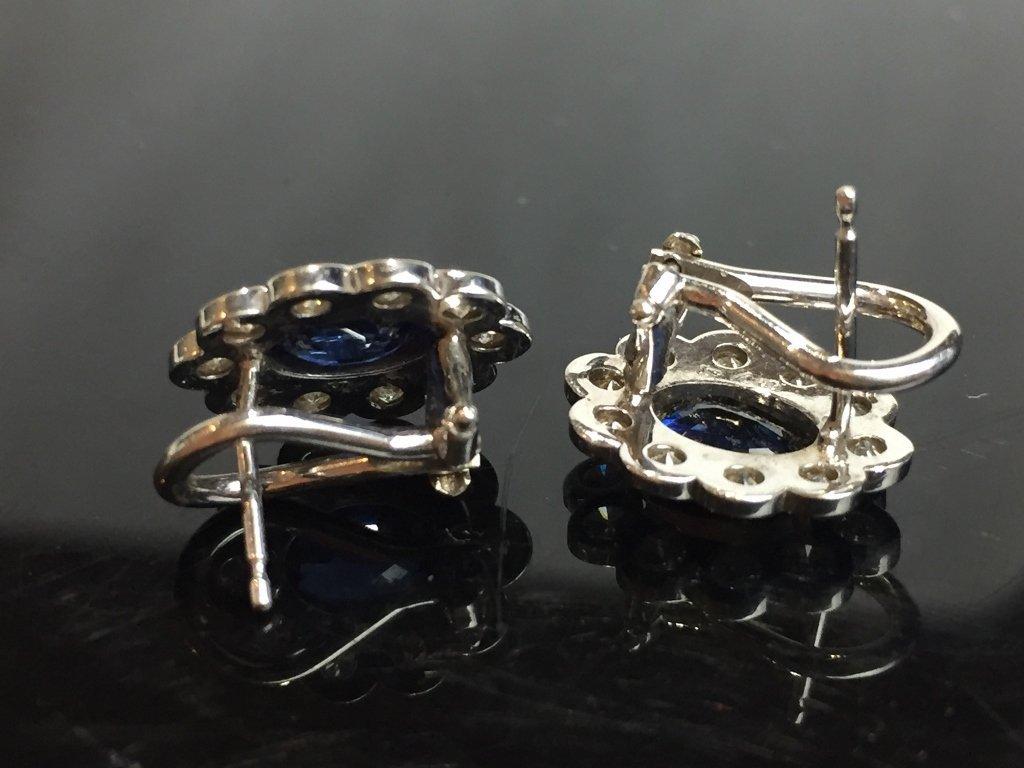 14k diamond and sapphire earrings, 2.4 dwts - 5