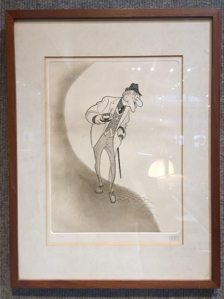 Hirschfield print, Jimmy Durante, signed