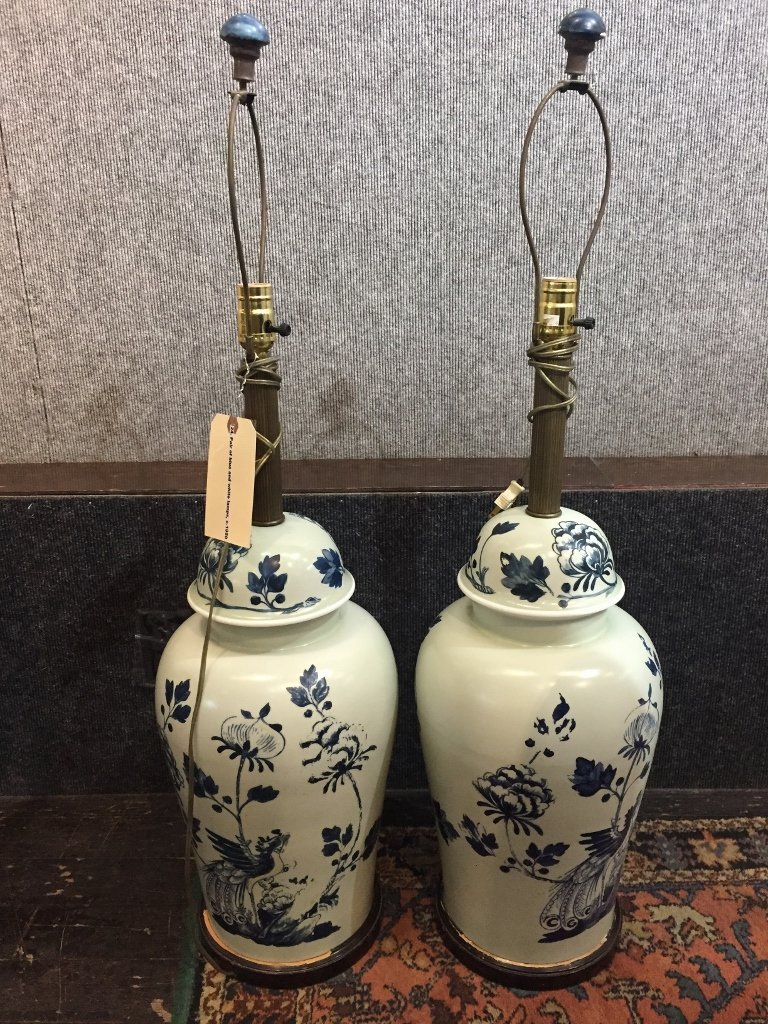 Pair of blue and white painted metal lamps, c.1950