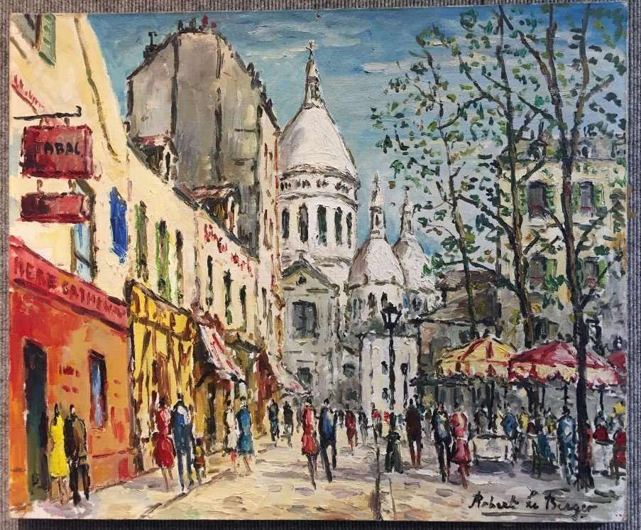 Painting of Paris by Robert Le Berger, c.1965