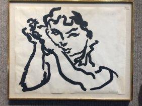 """Girl's Face"", print by Nicholas Marsicano, c.1970"