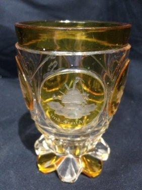 Engraved glass beaker, lemon color, c.1850