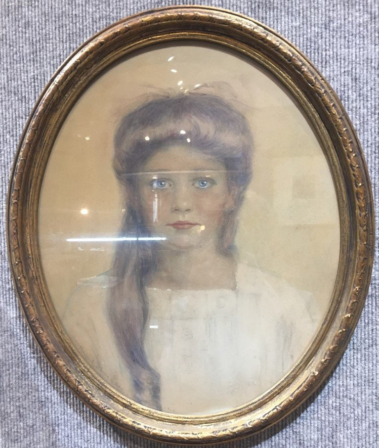 Watercolor drawing of girl,Marguerite Savage,d.1912