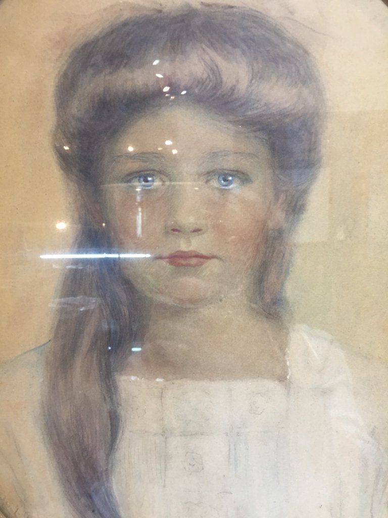 Watercolor drawing of girl,Marguerite Savage,d.1912 - 2
