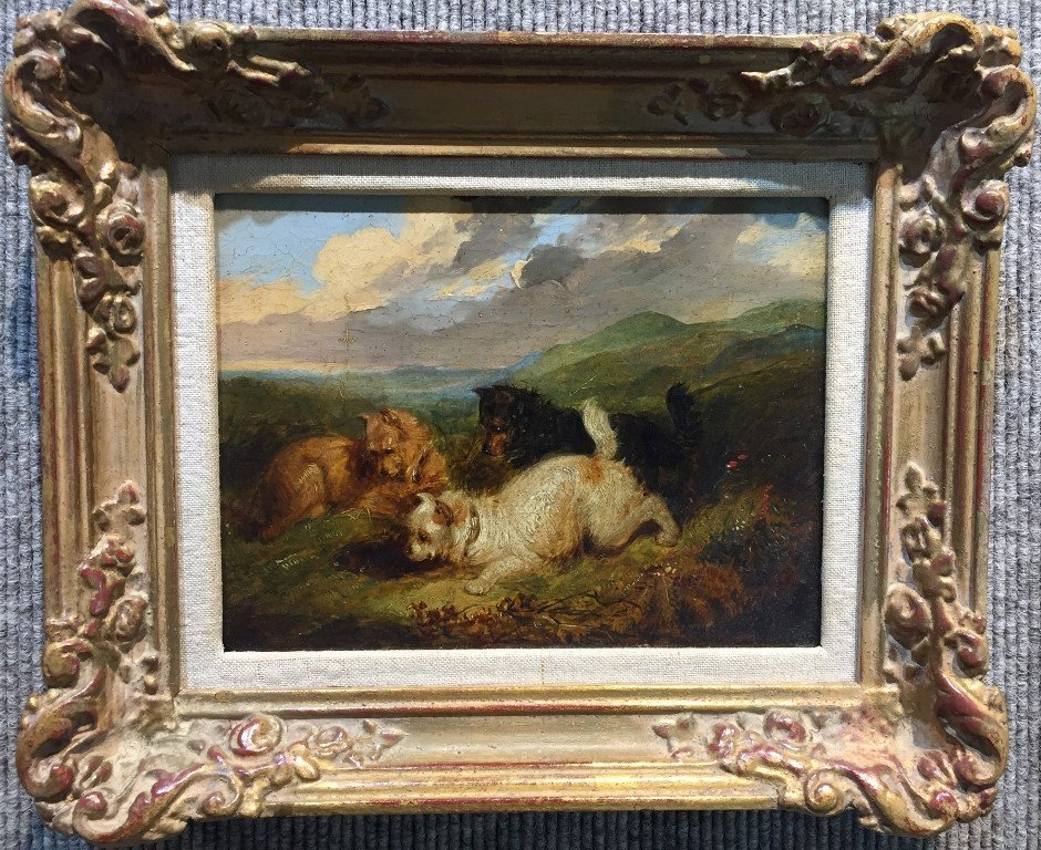 19th century painting of dogs, hunting