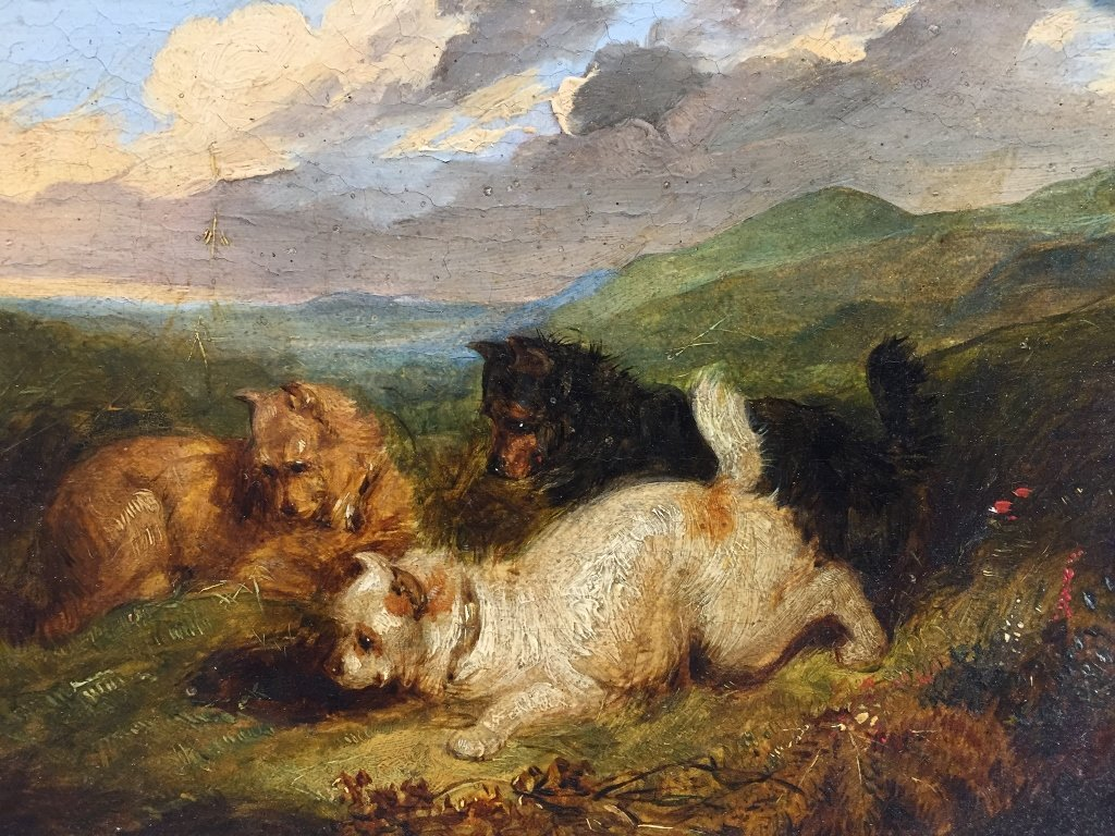 19th century painting of dogs, hunting - 2