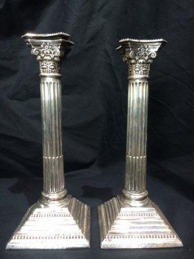 English sterling candlesticks, w/Hebrew inscrip.