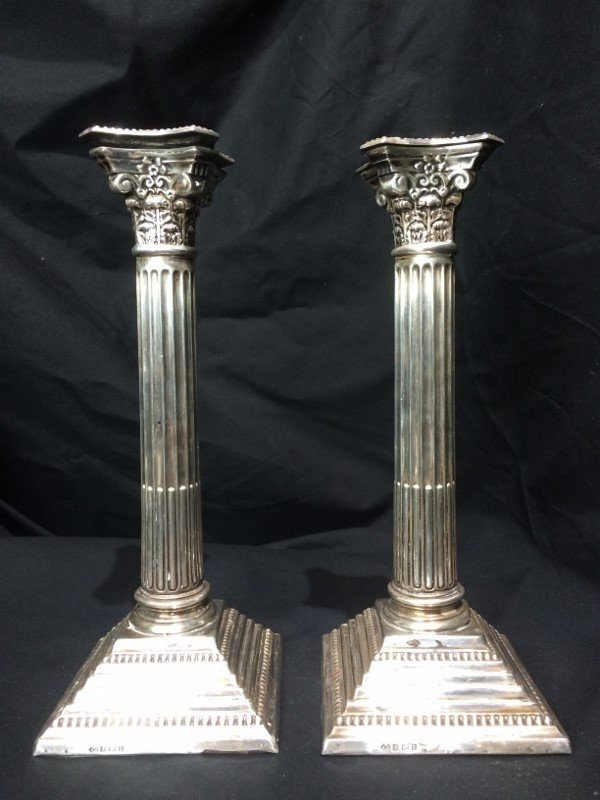 English sterling candlesticks, w/Hebrew inscrip. - 5