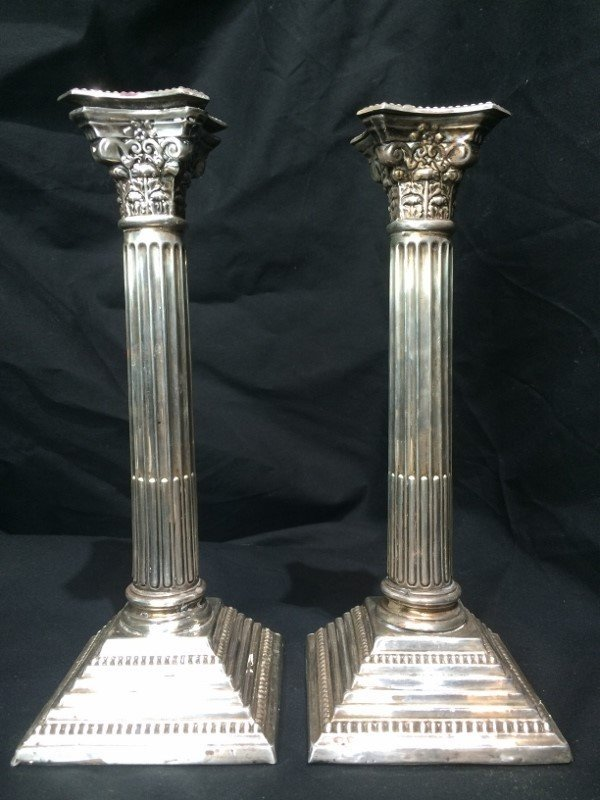English sterling candlesticks, w/Hebrew inscrip. - 8
