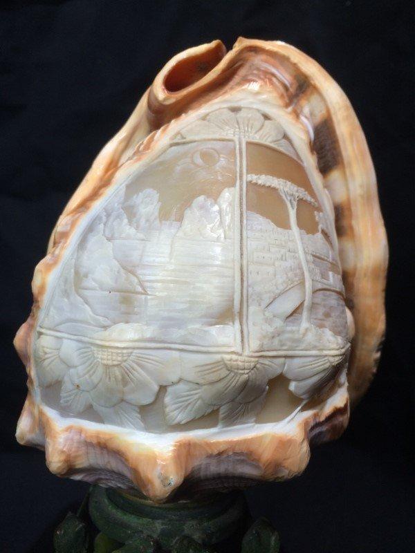 Carved conch shell, scene of Italian coast, circa 1900
