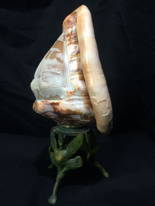 Carved conch shell, scene of Italian coast, circa 1900 - 3