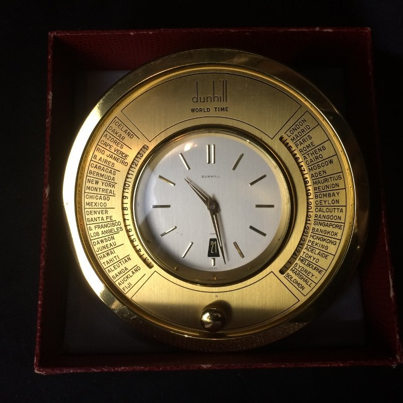 Box lot-Dunhill world clock in box-working