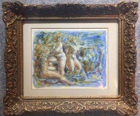 """Watercolor, """"Nudes"""", by Charles J. Burdick"""