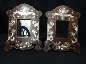 Pair of Chinese mother of pearl and wood frames