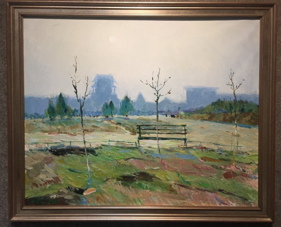 Painting of a park by Xin, 1996""