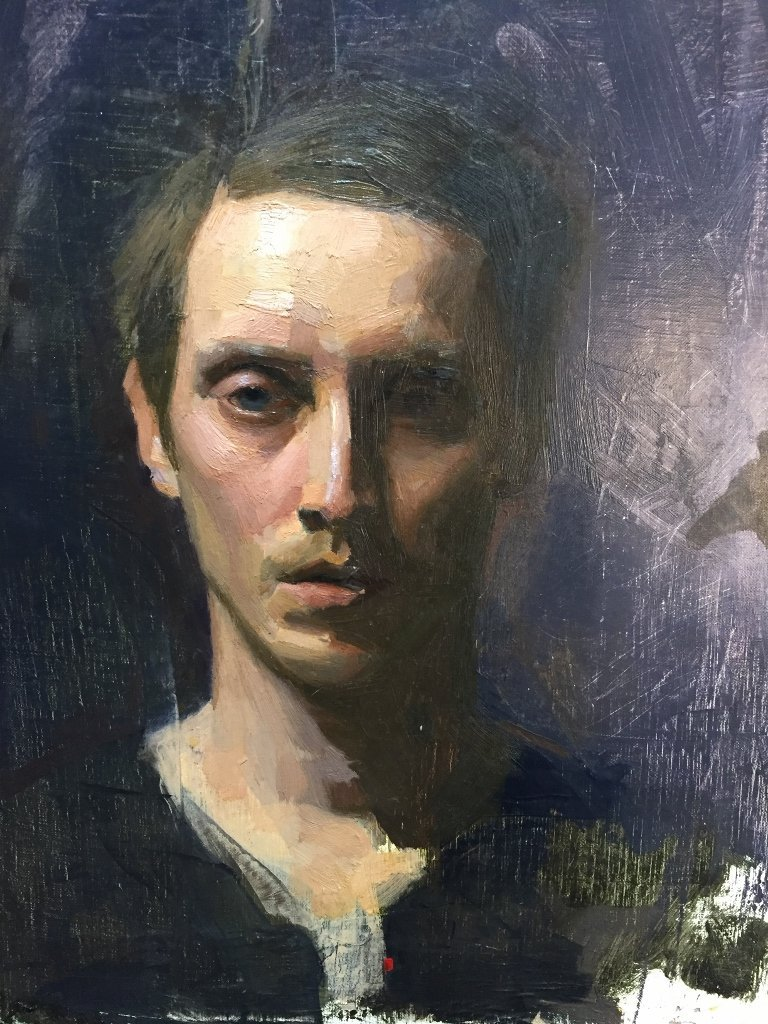 Unsigned painting of a man's face, c.1990 - 2