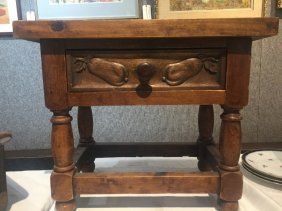 Small wood table with drawer-carved pears