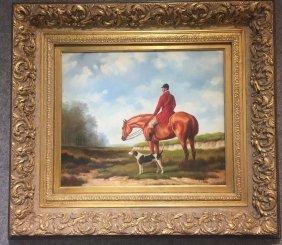 Painting of fox hunt