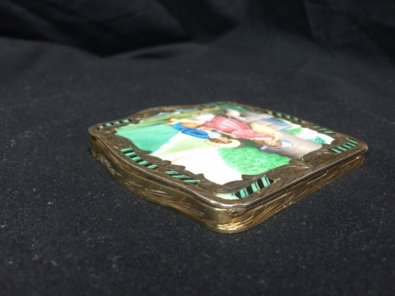 Box lot-800 silver and enamel compact, 3.9 t. oz - 4