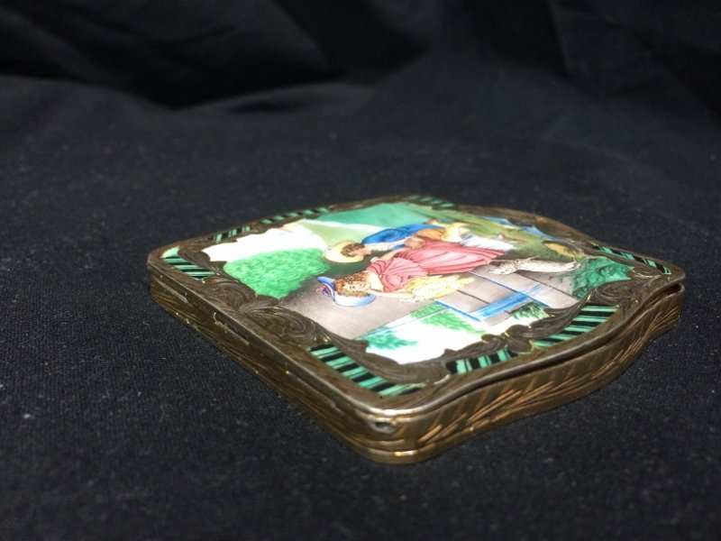 Box lot-800 silver and enamel compact, 3.9 t. oz - 5