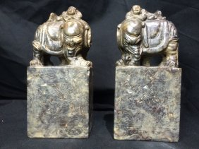 Pair of Chinese soapstone large carvings-elephants