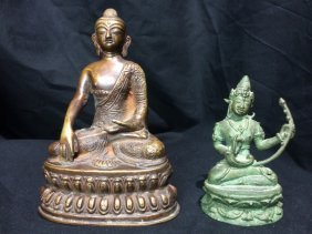 Box lot-Two metal Buddha figurines
