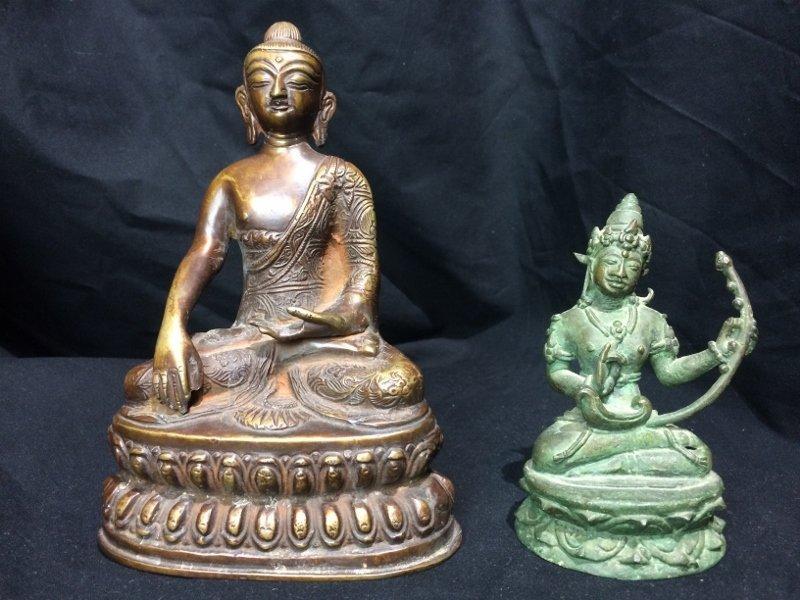 Box lot-Two metal Buddha figurines