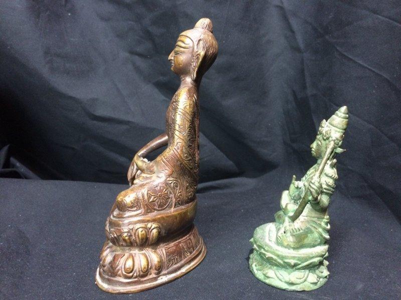 Box lot-Two metal Buddha figurines - 4