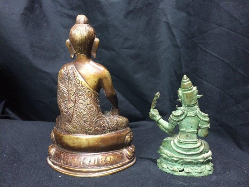 Box lot-Two metal Buddha figurines - 5