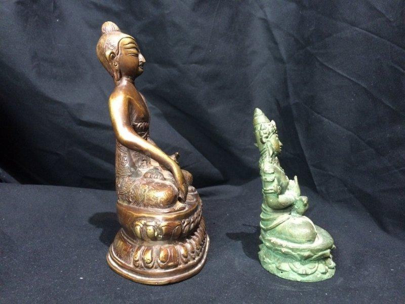 Box lot-Two metal Buddha figurines - 6