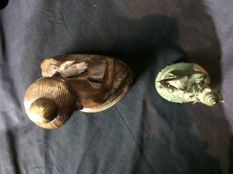 Box lot-Two metal Buddha figurines - 7