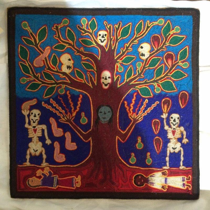 Huichol woven tree of death plaque