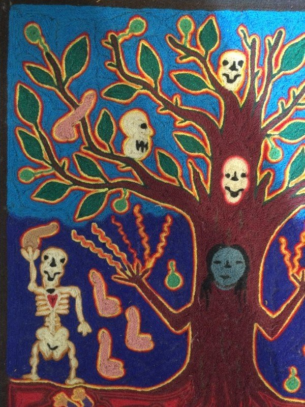 Huichol woven tree of death plaque - 2