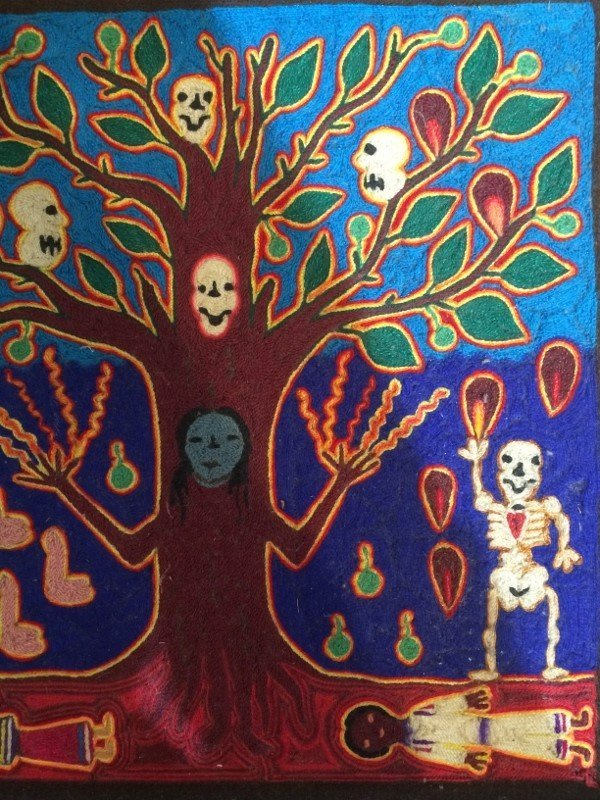 Huichol woven tree of death plaque - 3