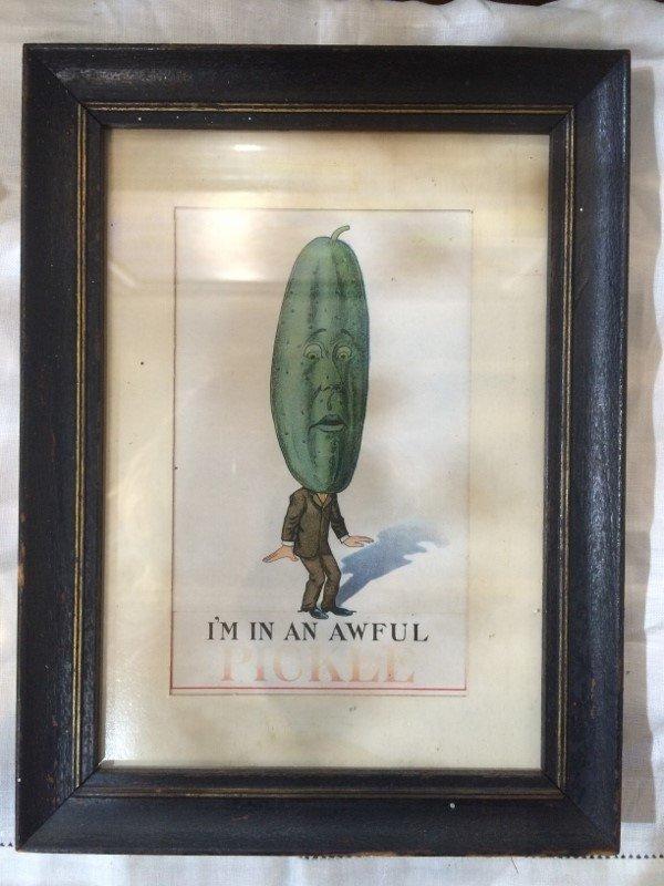 Framed 1912 Pickle postcard
