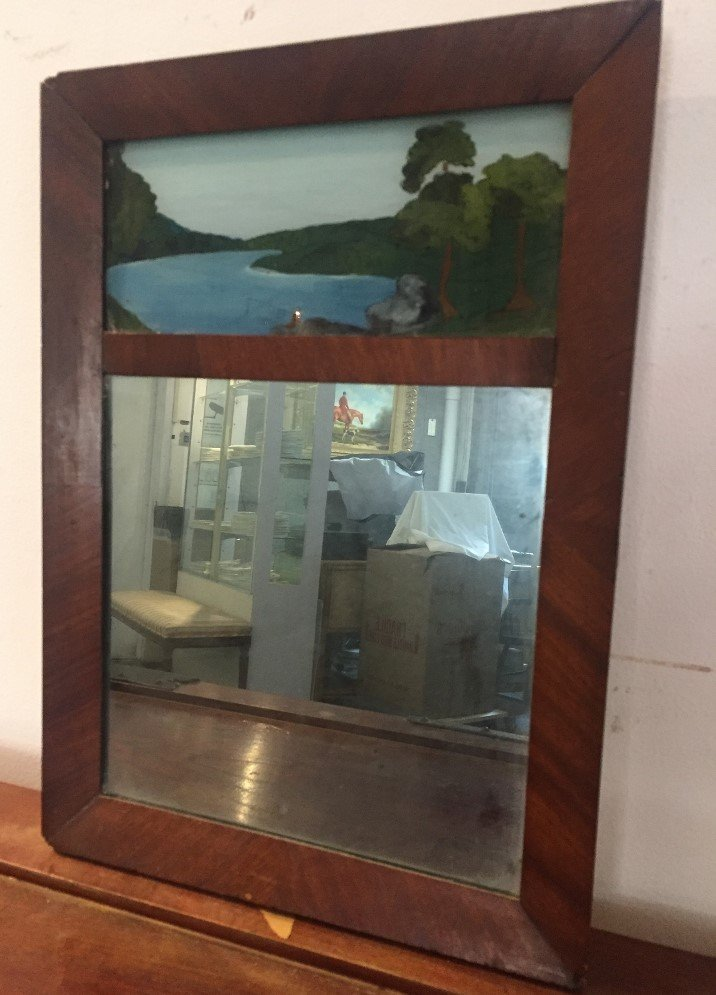 19th century mirror, painted top