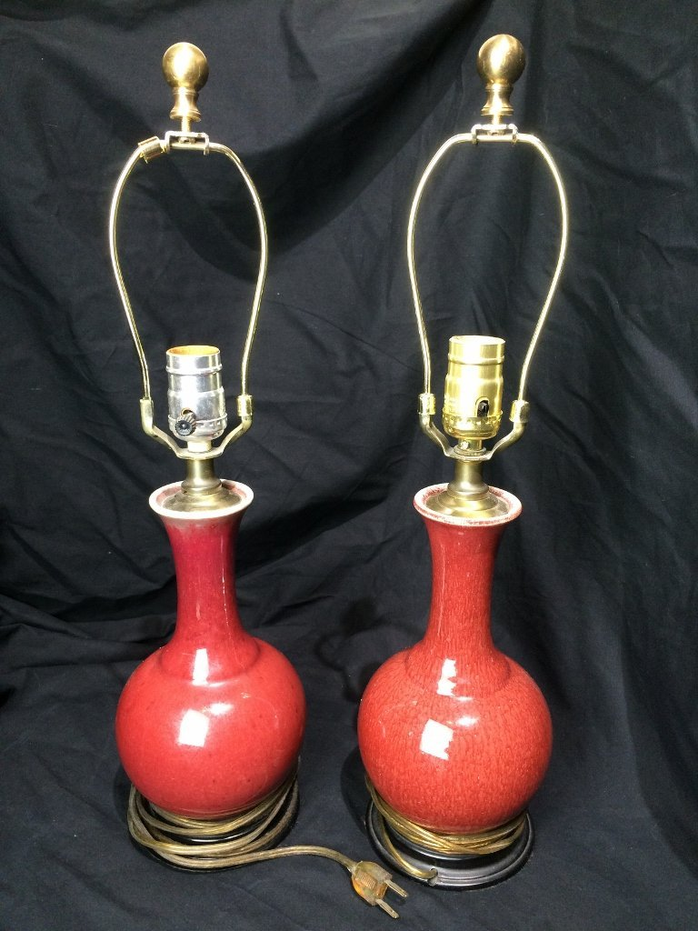 Pair of Sang de Boeuf lamps