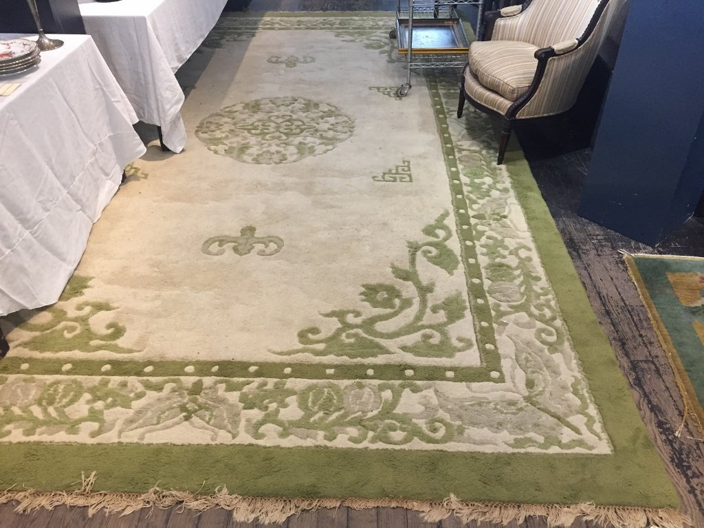 "Large Chinese rug, green and white, 115"" x 193"""