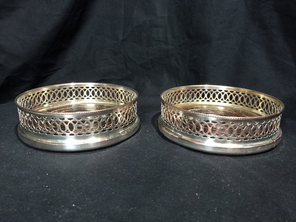 Pair of silver on copper wine coasters