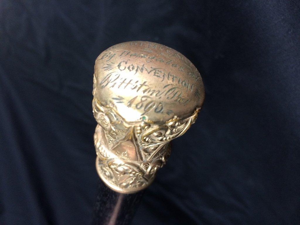 1895 gilt Presentation cane from delegates - 5