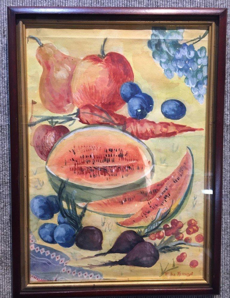 Gouache of watermelon by Pavel Kuznetsov-Ambassador