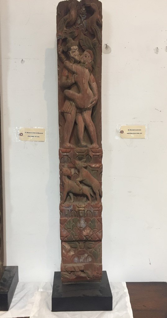 Mounted wood strut depicting lovers, India, 19th