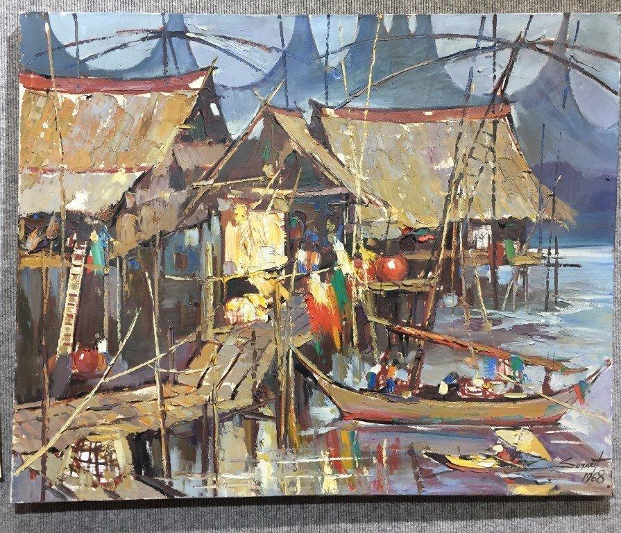 Painting of Puttaya by Sujarit Hirankul(Thai 1946-1982)